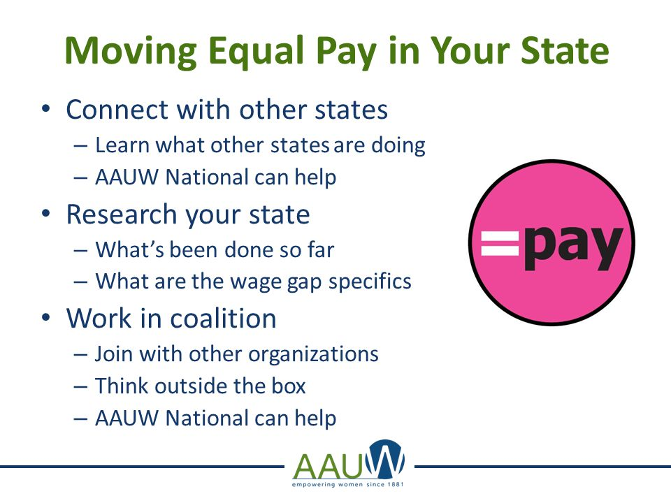 Moving Equal Pay in Your State Connect with other states – Learn what other states are doing – AAUW National can help Research your state – What's been done so far – What are the wage gap specifics Work in coalition – Join with other organizations – Think outside the box – AAUW National can help