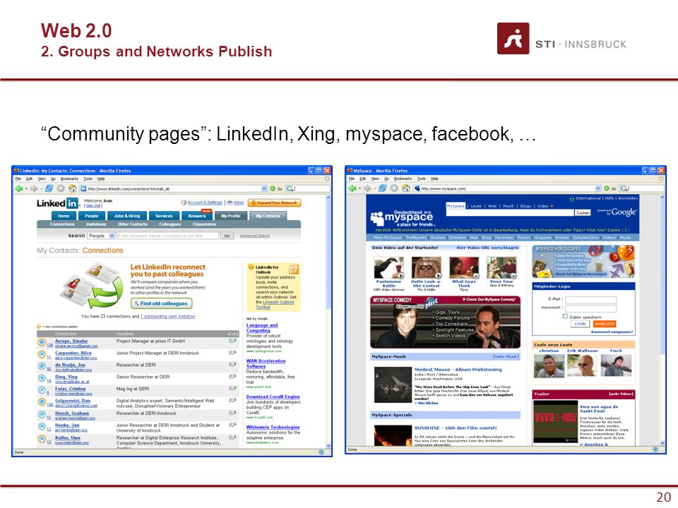 20 Community pages : LinkedIn, Xing, myspace, facebook, … Web 2.0 2. Groups and Networks Publish