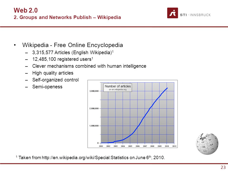 23 Wikipedia - Free Online Encyclopedia –3,315,577 Articles (English Wikipedia) 1 –12,485,100 registered users 1 –Clever mechanisms combined with human intelligence –High quality articles –Self-organized control –Semi-openess 1 Taken from http://en.wikipedia.org/wiki/Special:Statistics on June 6 th, 2010.
