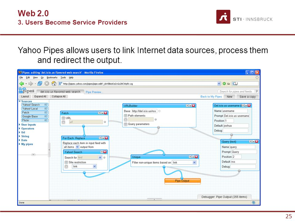 25 Yahoo Pipes allows users to link Internet data sources, process them and redirect the output.