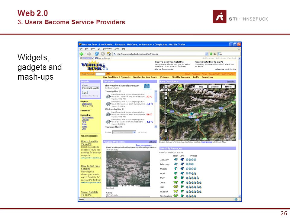 26 Widgets, gadgets and mash-ups Web 2.0 3. Users Become Service Providers