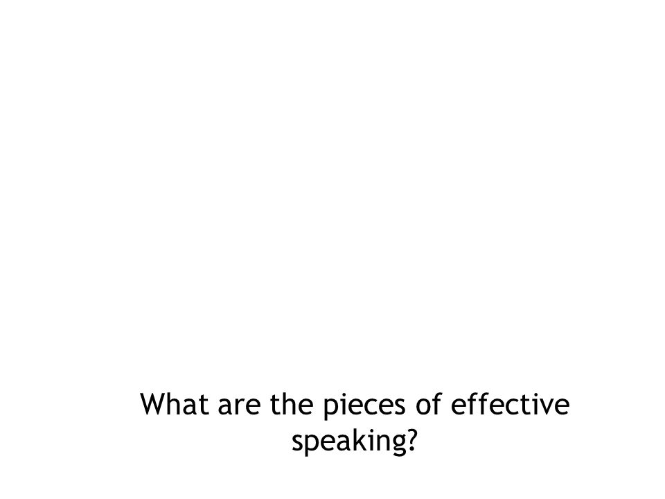 What are the pieces of effective speaking
