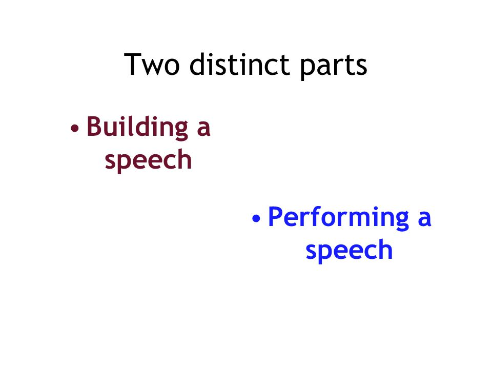 Two distinct parts Building a speech Performing a speech