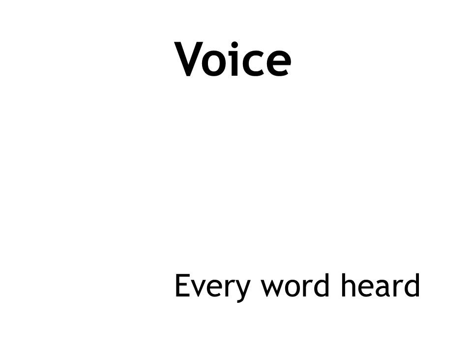 Voice Every word heard