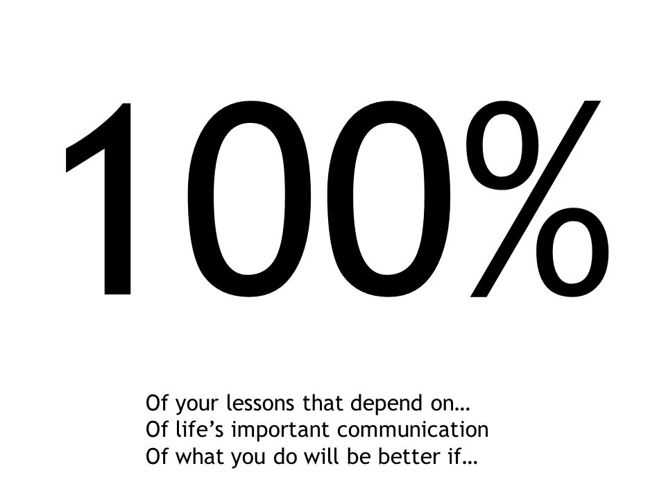 100% Of your lessons that depend on… Of life's important communication Of what you do will be better if…