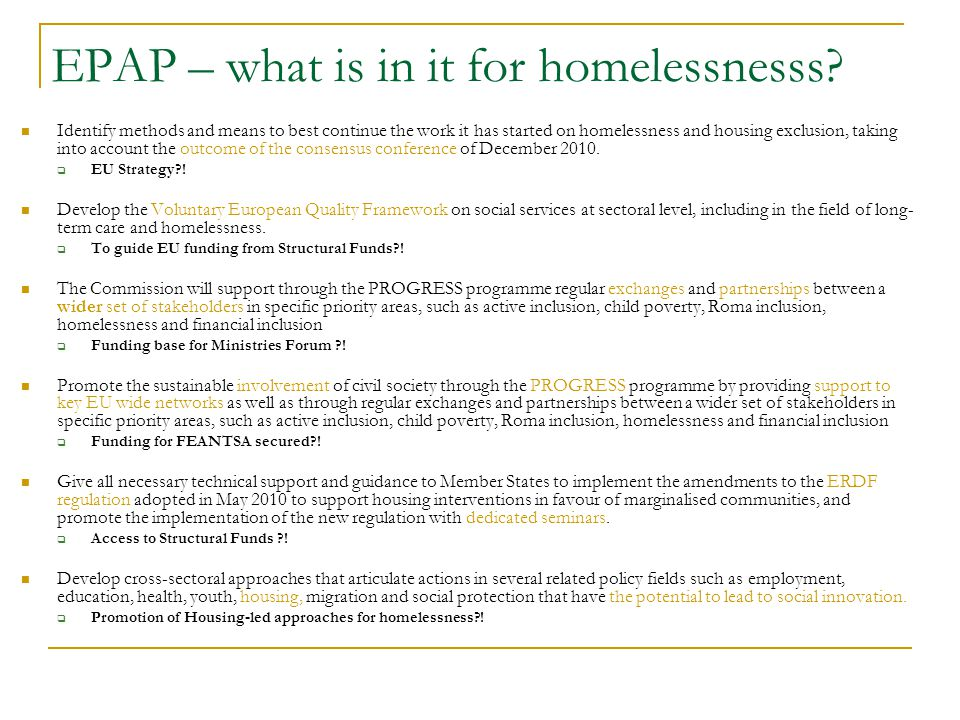 EPAP – what is in it for homelessnesss.