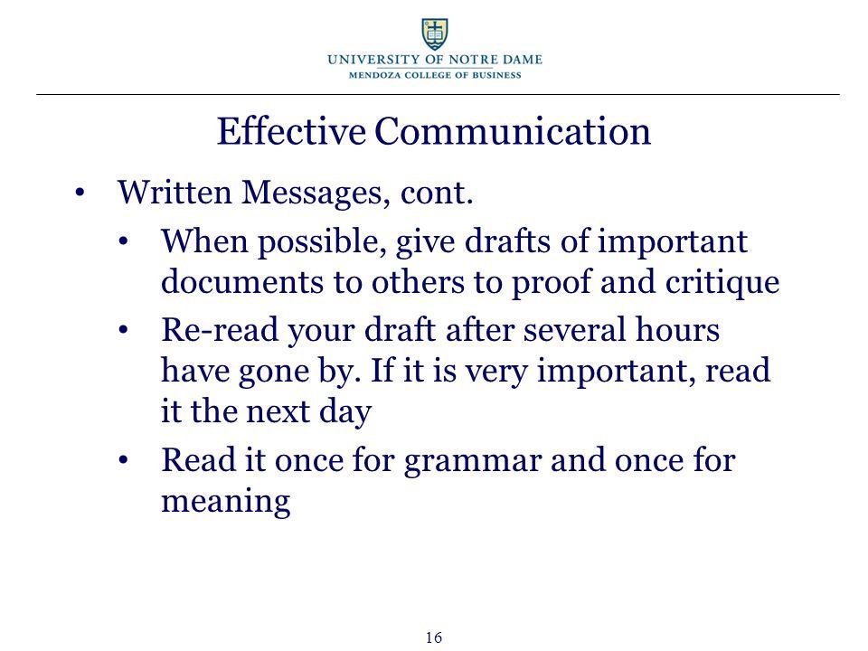 16 Effective Communication Written Messages, cont.