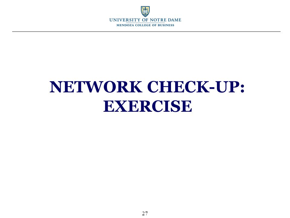 NETWORK CHECK-UP: EXERCISE 27
