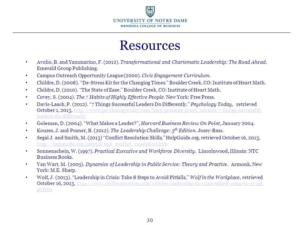 30 Resources Avolio, B. and Yammarino, F. (2012).