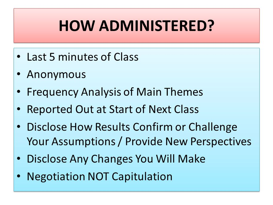 HOW ADMINISTERED.