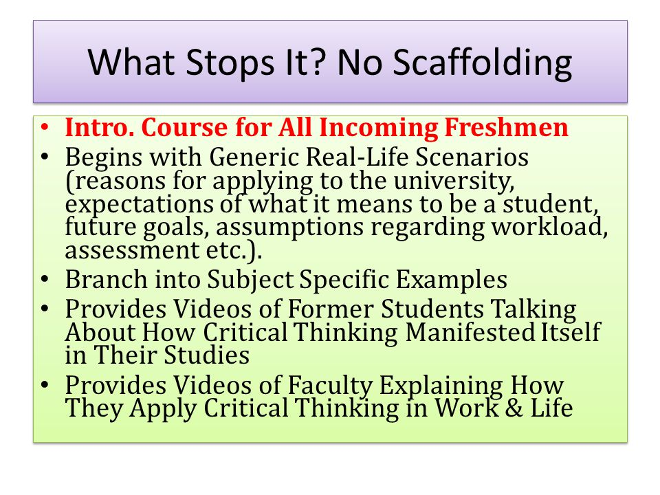 What Stops It. No Scaffolding Intro.