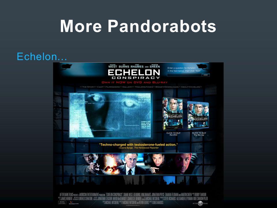 More Pandorabots Echelon...