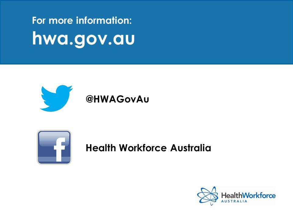 hwa.gov.au @HWAGovAu Health Workforce Australia For more information:
