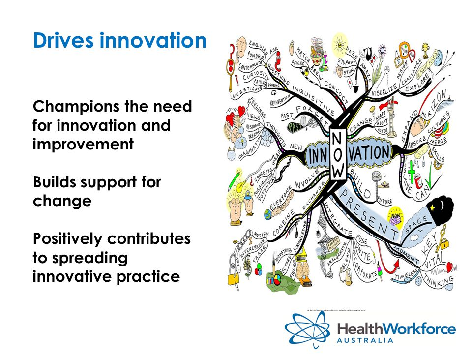 Drives innovation Champions the need for innovation and improvement Builds support for change Positively contributes to spreading innovative practice