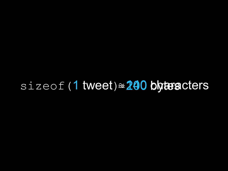 140 characters = 200 bytes ≈ sizeof( 1 tweet )
