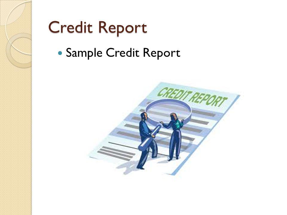 Credit Report Sample Credit Report
