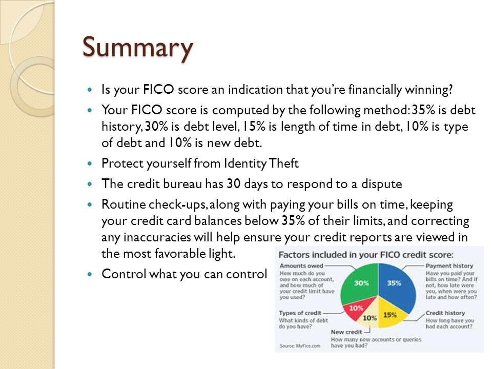 Summary Is your FICO score an indication that you're financially winning.