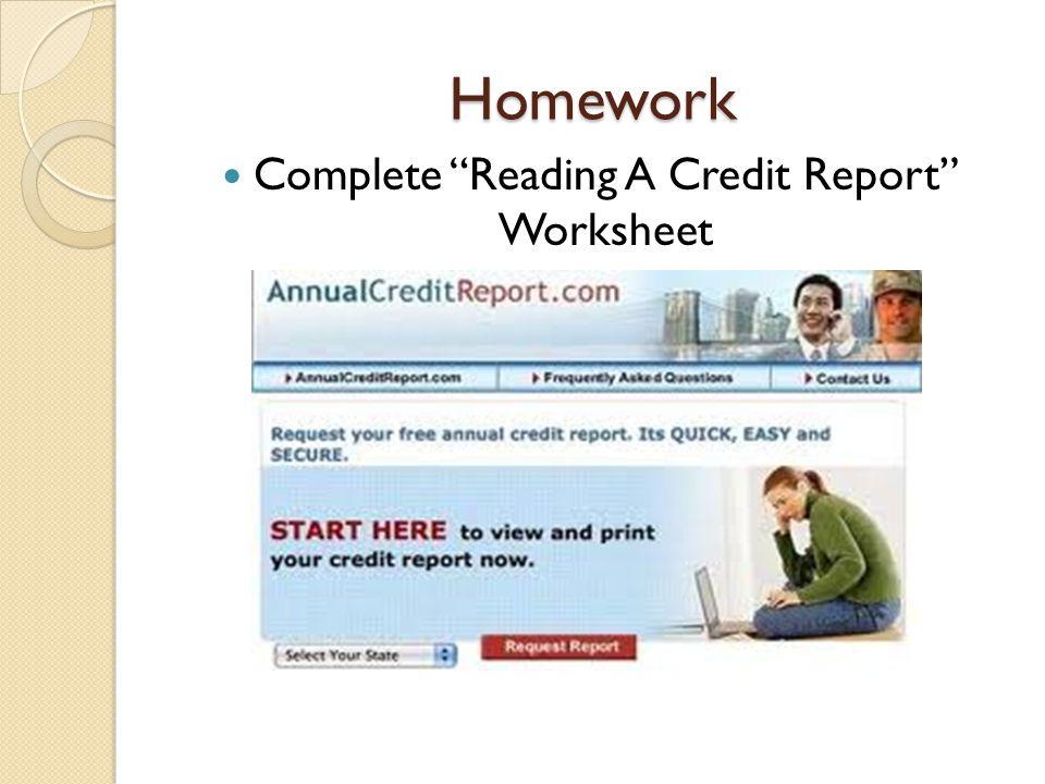Homework Complete Reading A Credit Report Worksheet