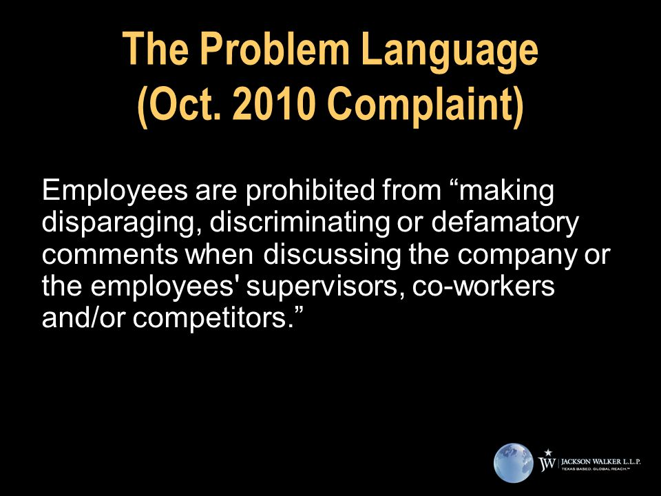 The Problem Language (Oct.