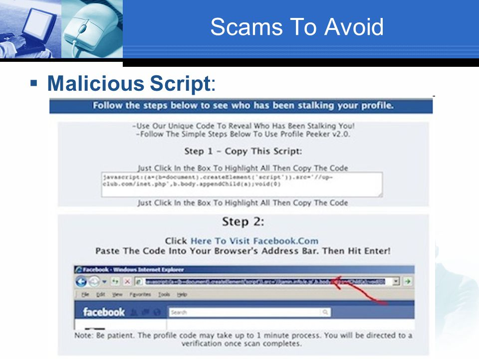 Scams To Avoid  Malicious Script: