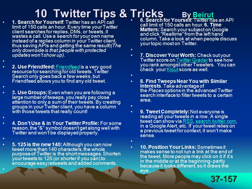 37-157 10 Twitter Tips & Tricks By Beirut 10 Twitter Tips & Tricks By Beirut Beirut 1.