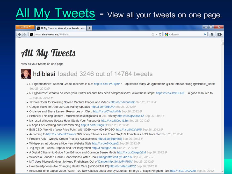 56-157 All My TweetsAll My Tweets - View all your tweets on one page. All My Tweets