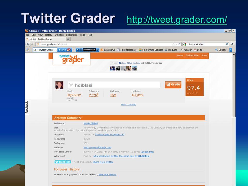 58-157 Twitter Grader http://tweet.grader.com/ http://tweet.grader.com/