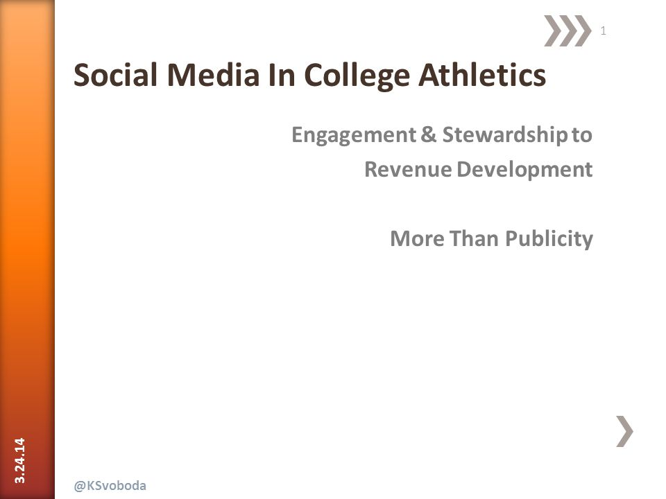 3.24.14 42 @Ksvoboda | * Amanda Vandervort, Director of Social Media, MLS Voice – MLS* Social Media In College Athletics  Confident, not Authoritative  Approachable, not too Familiar  Entertaining, but not Silly  Focused on Visual Content  Offers/ Contests  Customer Service  Promotion  News  Behind-Scenes