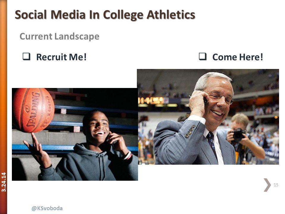 3.24.14 15 @KSvoboda Current Landscape Social Media In College Athletics  Recruit Me!  Come Here!
