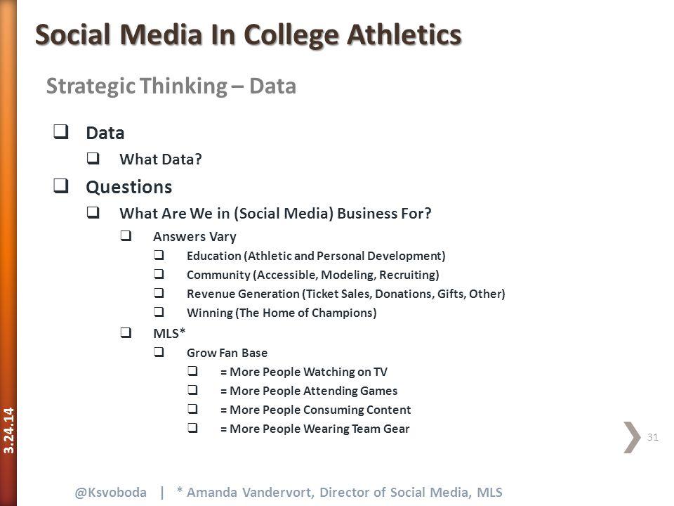 3.24.14 31 @Ksvoboda | * Amanda Vandervort, Director of Social Media, MLS Strategic Thinking – Data Social Media In College Athletics  Data  What Data.