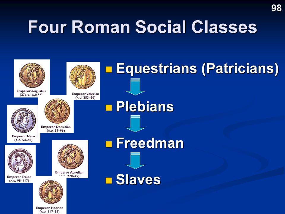 Four Roman Social Classes Equestrians (Patricians) Equestrians (Patricians) Plebians Plebians Freedman Freedman Slaves Slaves 98