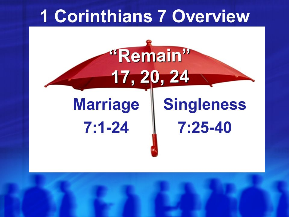 1 Corinthians 7 Overview Marriage 7:1-24 Singleness 7:25-40 Remain 17, 20, 24