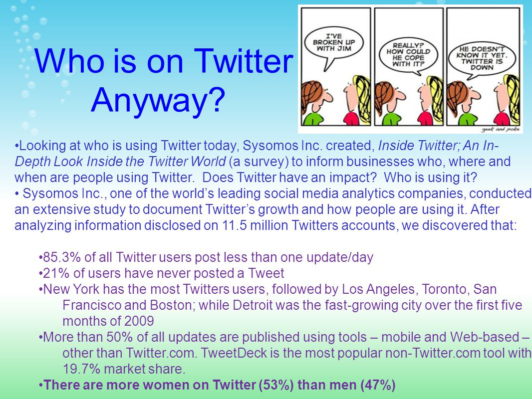 Who is on Twitter Anyway. Looking at who is using Twitter today, Sysomos Inc.