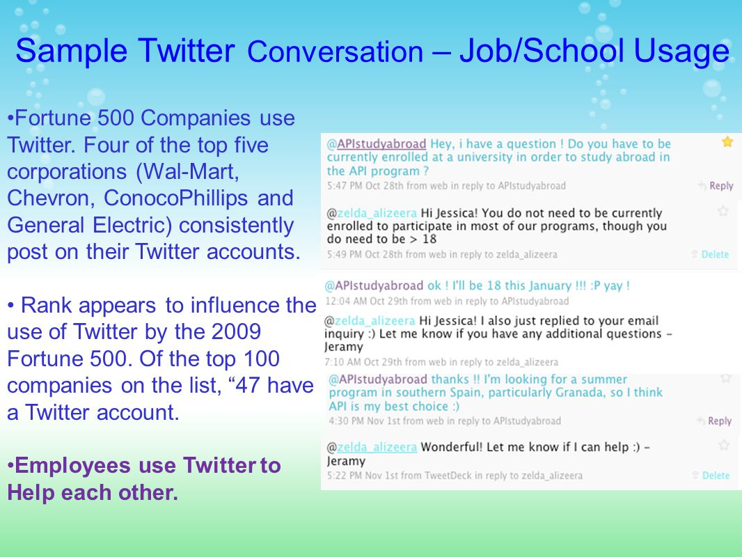 Sample Twitter Conversation – Job/School Usage Fortune 500 Companies use Twitter.
