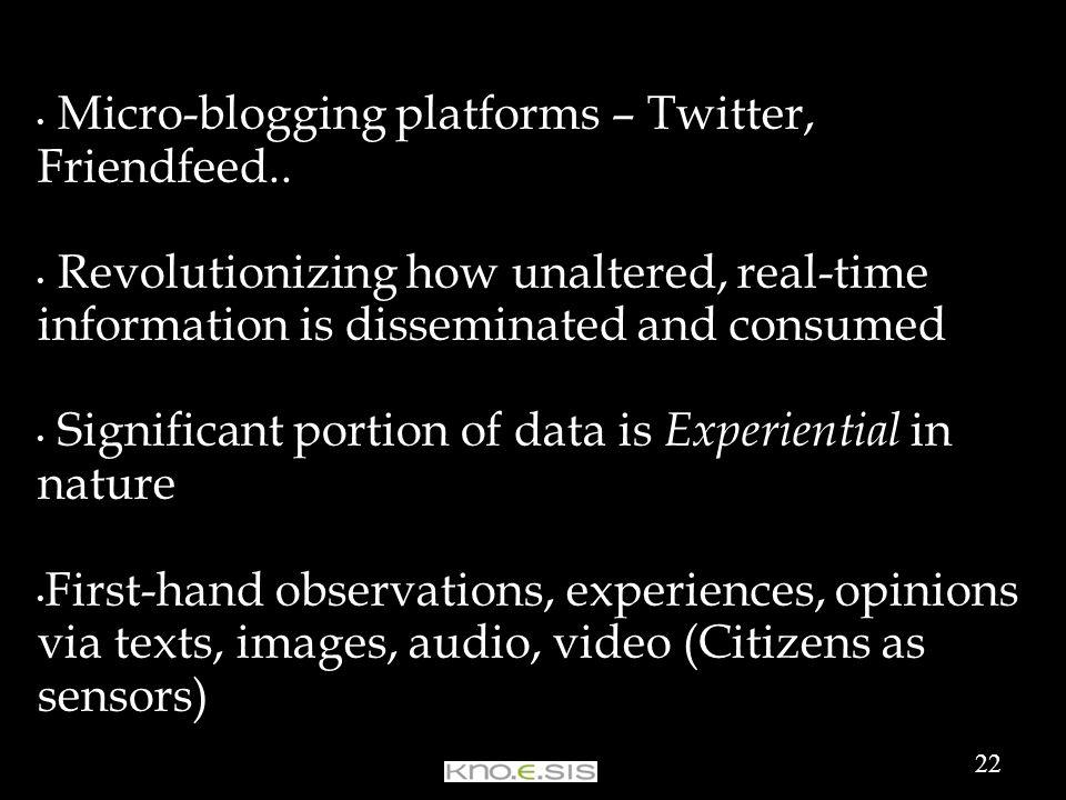 Micro-blogging platforms – Twitter, Friendfeed..