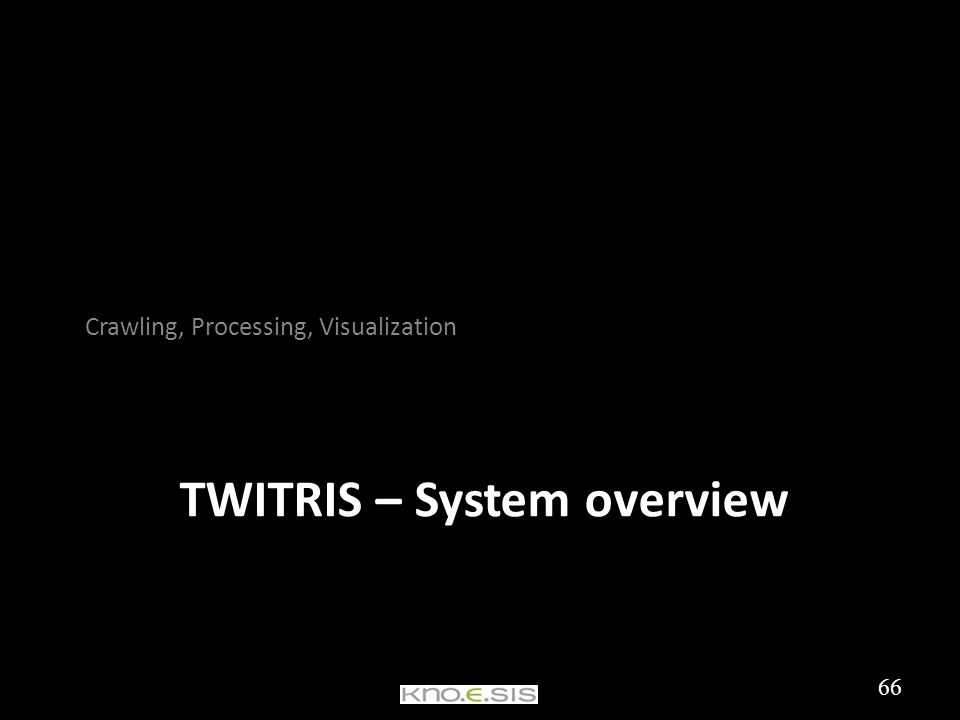 TWITRIS – System overview Crawling, Processing, Visualization 66