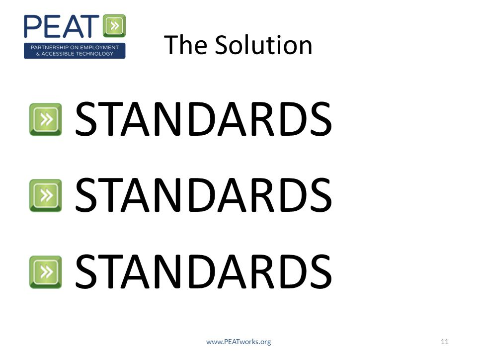 The Solution STANDARDS www.PEATworks.org11