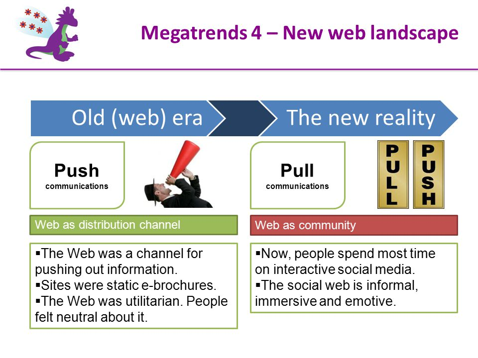 Megatrends 4 – New web landscape Pull communications  The Web was a channel for pushing out information.  Sites were static e-brochures.  The Web w