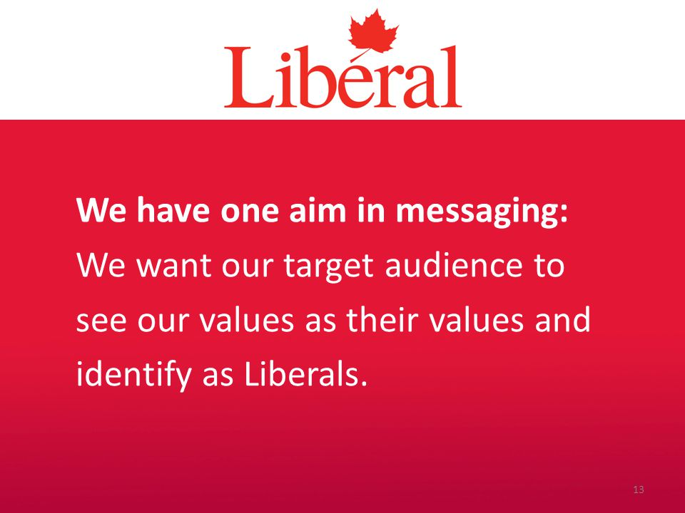 Introduction We have one aim in messaging: We want our target audience to see our values as their values and identify as Liberals. 13
