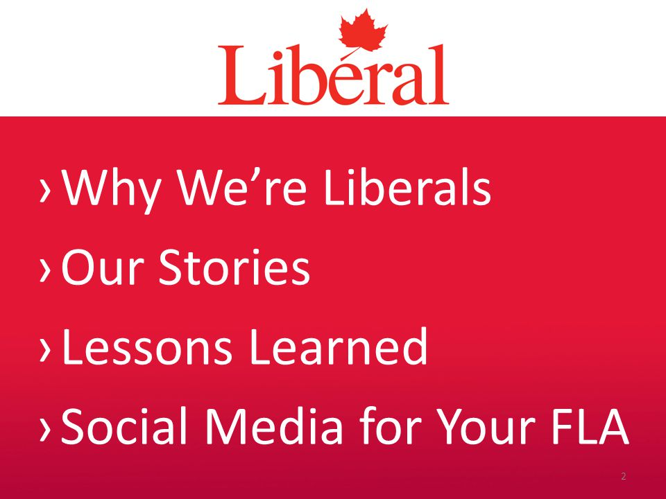 Introduction We have one aim in messaging: We want our target audience to see our values as their values and identify as Liberals.