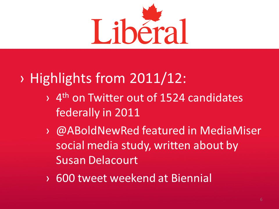 Introduction ›Highlights from 2011/12: ›4 th on Twitter out of 1524 candidates federally in 2011 ›@ABoldNewRed featured in MediaMiser social media study, written about by Susan Delacourt ›600 tweet weekend at Biennial 6