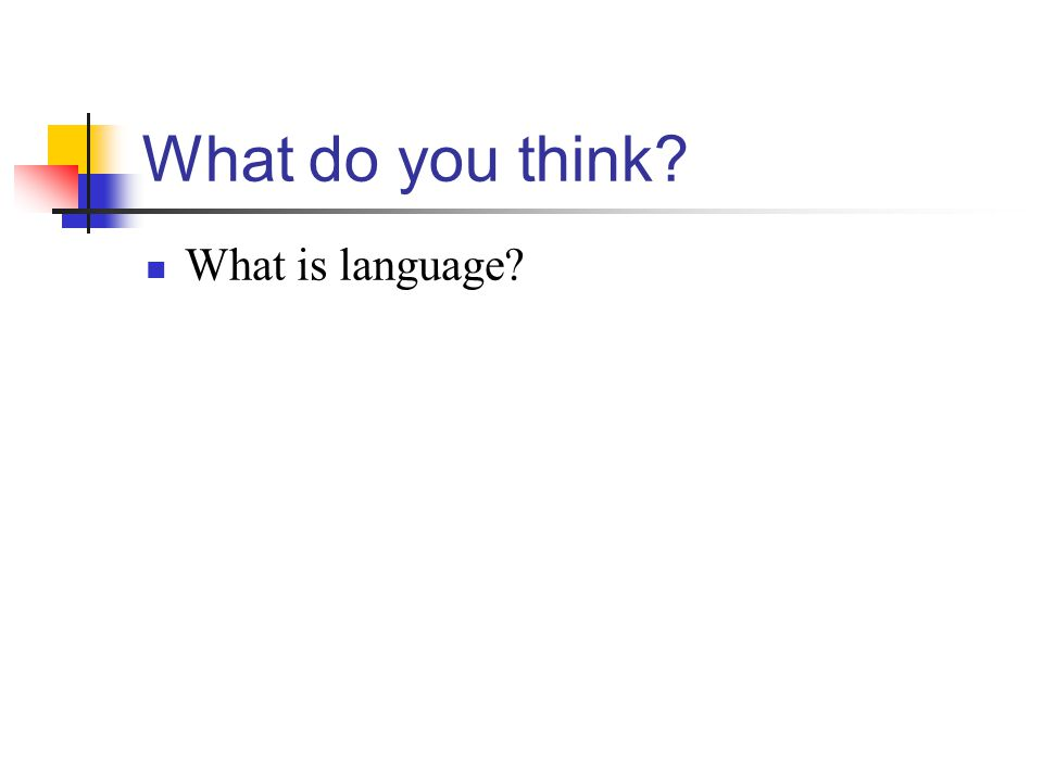 What do you think What is language
