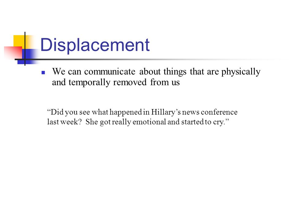 Displacement We can communicate about things that are physically and temporally removed from us Did you see what happened in Hillary's news conference last week.