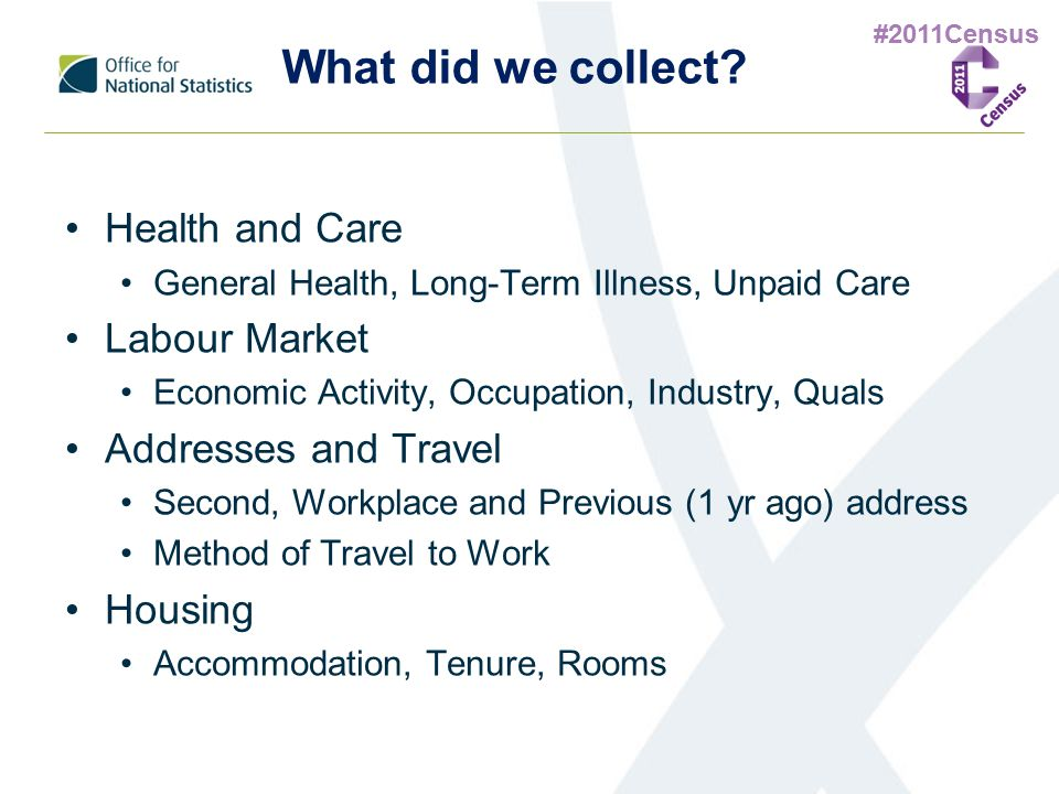 #2011Census What did we collect? Health and Care General Health, Long-Term Illness, Unpaid Care Labour Market Economic Activity, Occupation, Industry,