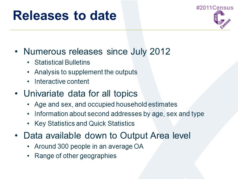 #2011Census Releases to date Numerous releases since July 2012 Statistical Bulletins Analysis to supplement the outputs Interactive content Univariate