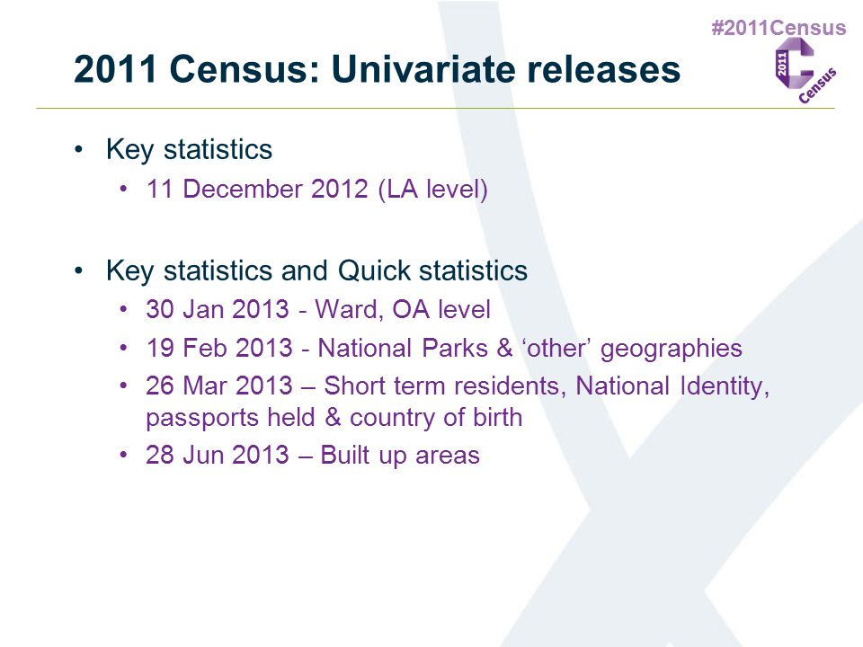 #2011Census 2011 Census: Univariate releases Key statistics 11 December 2012 (LA level) Key statistics and Quick statistics 30 Jan 2013 - Ward, OA level 19 Feb 2013 - National Parks & 'other' geographies 26 Mar 2013 – Short term residents, National Identity, passports held & country of birth 28 Jun 2013 – Built up areas