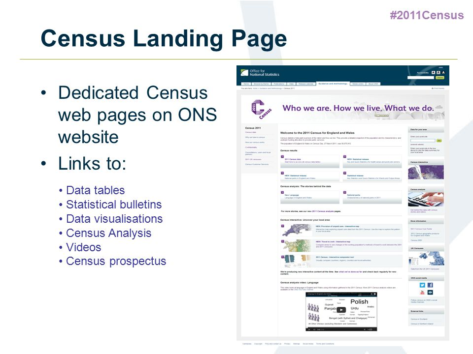 #2011Census Census Landing Page Dedicated Census web pages on ONS website Links to: Data tables Statistical bulletins Data visualisations Census Analy