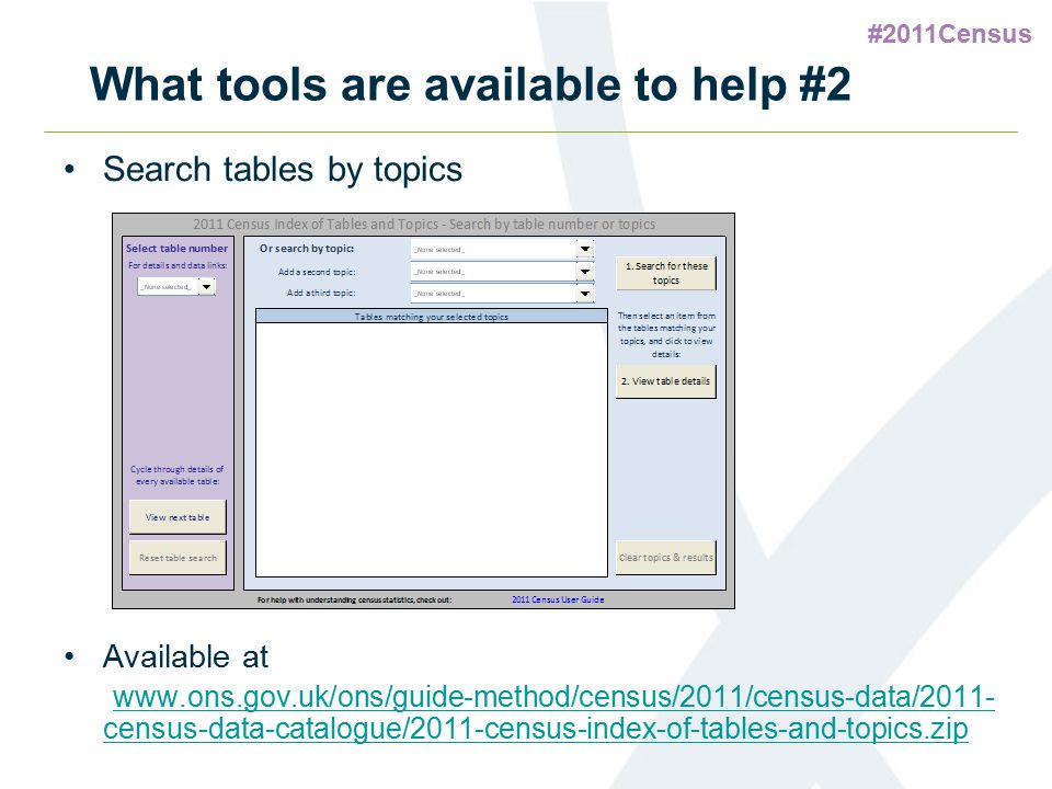 What tools are available to help #2 Search tables by topics Available at www.ons.gov.uk/ons/guide-method/census/2011/census-data/2011- census-data-cat