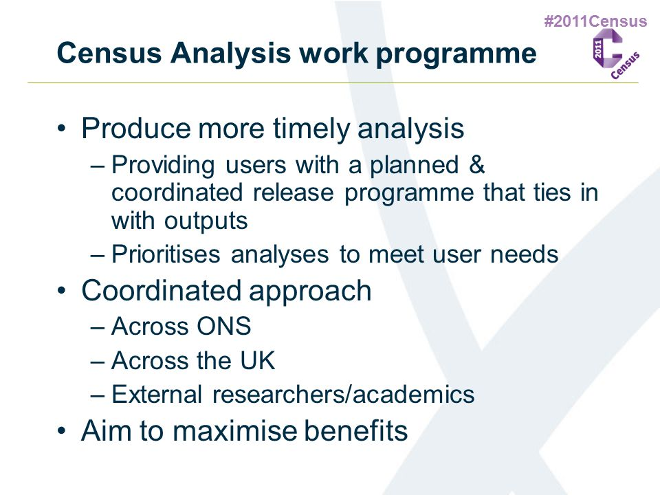 #2011Census Census Analysis work programme Produce more timely analysis –Providing users with a planned & coordinated release programme that ties in w