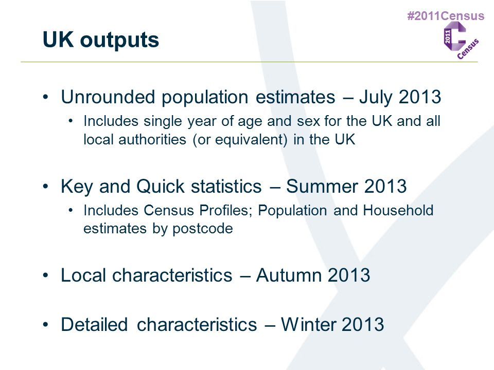 #2011Census UK outputs Unrounded population estimates – July 2013 Includes single year of age and sex for the UK and all local authorities (or equival